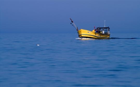 Łódź rybacka w błękicie